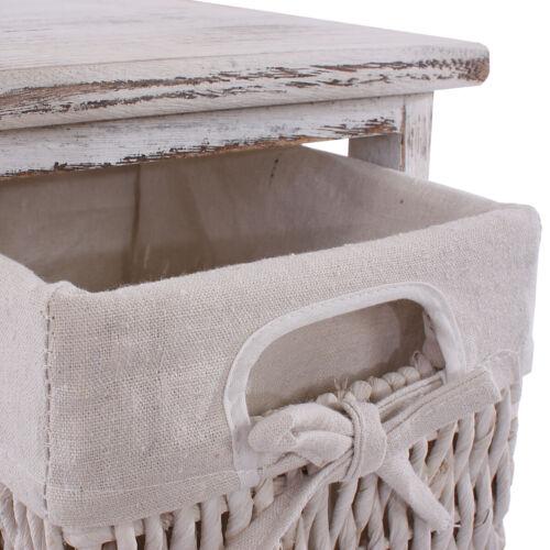 Shabby-Look Vintage weiß 2x Regal Kommode mit 3 Korbschubladen 58x25x28cm