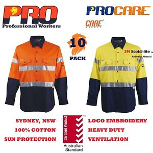 10-pack-Hi-Vis-Work-Shirt-with-vent-cotton-drill-3M-reflective-Tape-long-sleeves