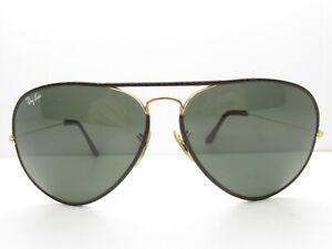 e6fcec0d58e9 VINTAGE B&L RAY-BAN TEARDROP AVIATOR SUNGLASSES leather eyewear 62 ...