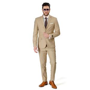 4eb7d12747b Tan Beige Slim Fit Men Suit 2 Button Notch Lapel Azar Man Vest ...