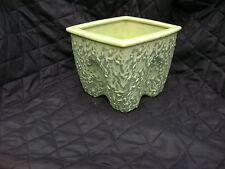 vtg McCoy green PLANTER flower pot BROCADE splatter wax glaze USA art pottery