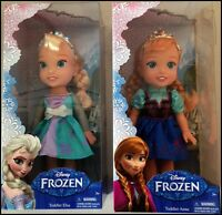 "Disney Frozen Toddler Elsa & Toddler Anna 13"" Doll Brand With Tiara"