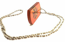 Boys Mens Orange Dog Tag Pendant Bead Chain Necklace Mens Hip Hop Jewelry