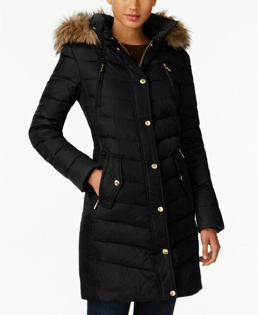 NWT MICHAEL Michael Kors Petite Faux Fur Trim Hooded Down Coat, Black Small