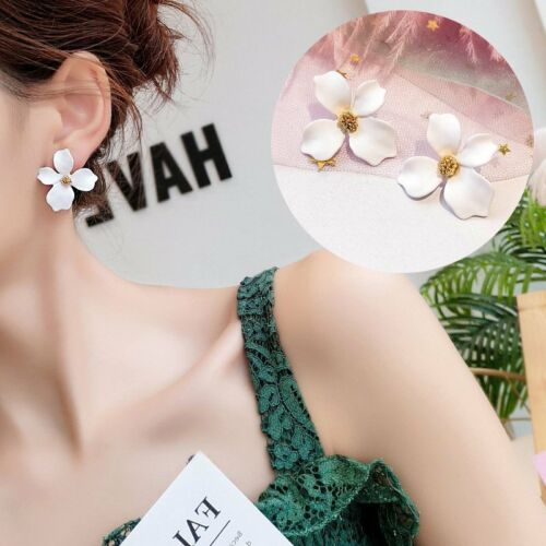 Fashion Boho Painting Big Flowers Ear Stud Earrings Women Charm Jewelry Summer