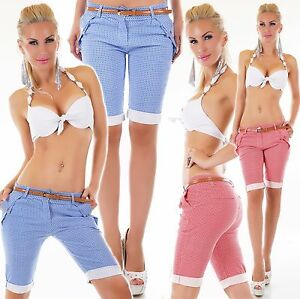 Italia-Mujer-Bermudas-Shorts-Pantalones-Cortos-Estilo-Chino-Stretch-Correa-Incl