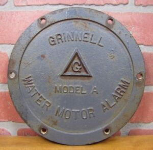Old-Cast-Iron-GRINNELL-WATER-MOTOR-ALARM-Cover-Model-A-Industrial-Fire-Sprinkler