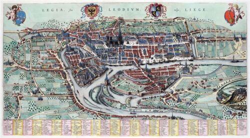 Luik Reproduction plan ancien de Liège 1649