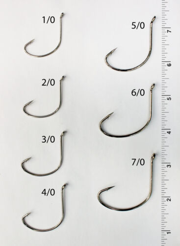 25 Size 5//0 Custom Offshore Tackle Offset Nickel Kahle Hooks Bent Eye Up