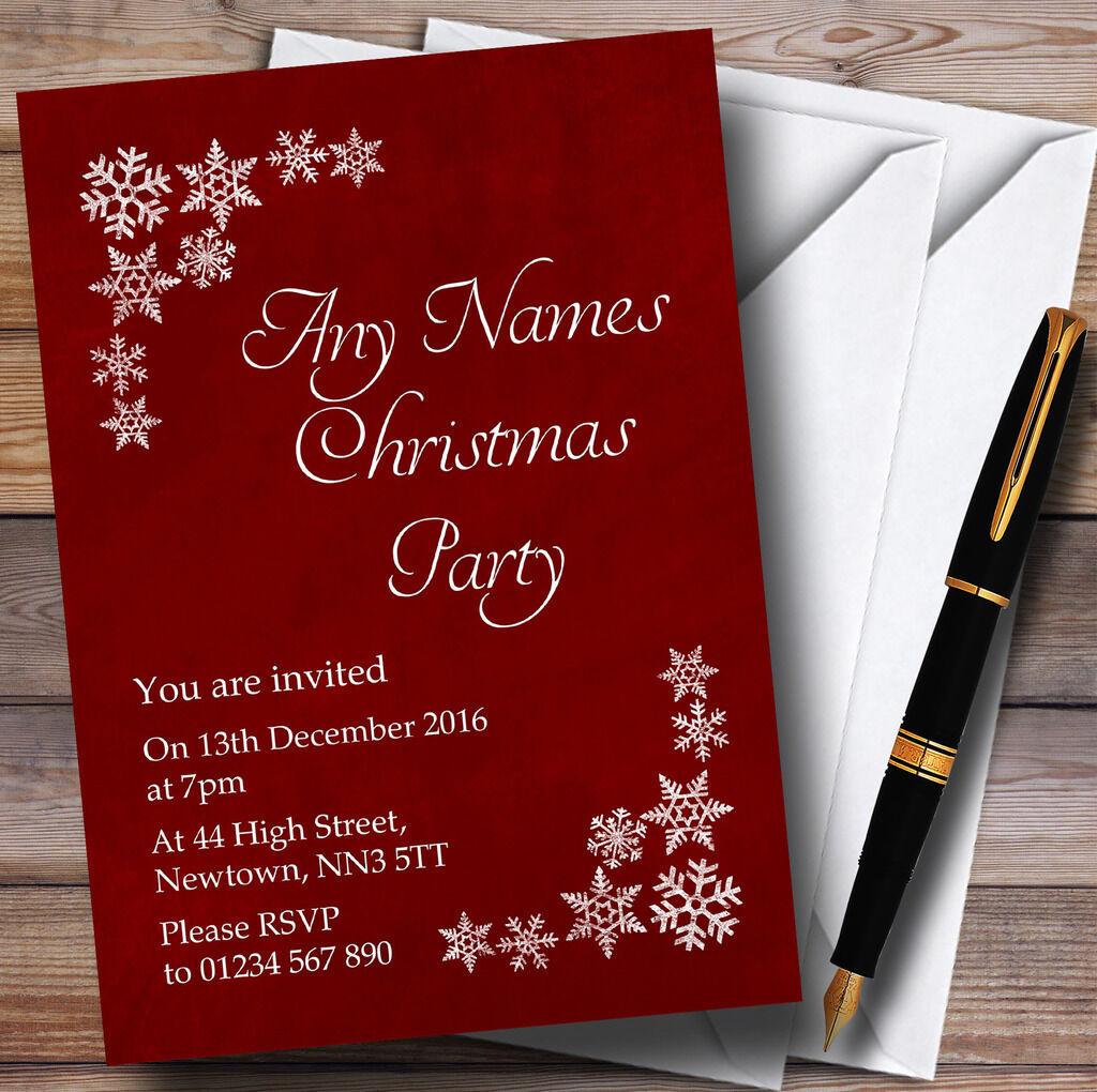 Blanc de rouge flocon de neige & rouge de personnalisé noël party invitations 79f38b