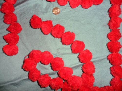 """Vintage Red Cotton 1/"""" Pom Pom String Made by Conso 2 yards"""