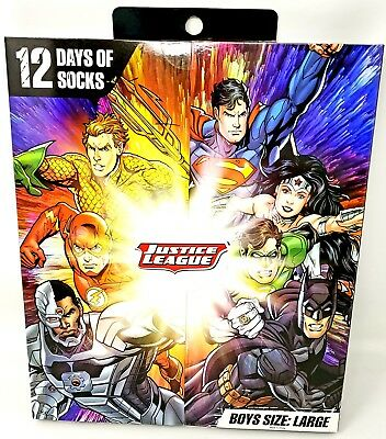 Open-Minded Dc Justice League 12 Days Of Socks Set Shoe Size 4 To 10 Boys Large New 2018 To Suit The People'S Convenience