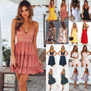 81c65930e557 Image is loading Women-Summer-Boho-Short-Maxi-Dress-Evening-Cocktail-