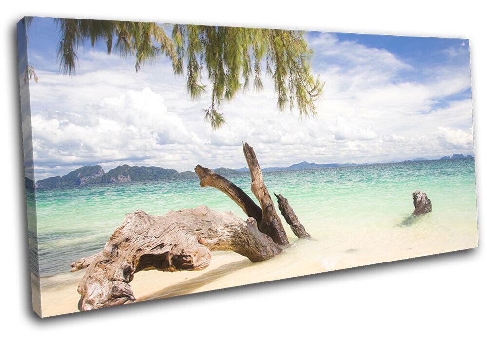 Driftwood Modern Thailand  Sunset Seascape SINGLE TELA parete arte foto stampa