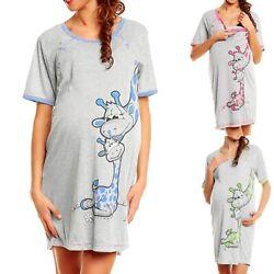 Stillnachthemd Nachthemd Schwangerschaft Stillen Geburt Stillkleidung NEU 2 in 1