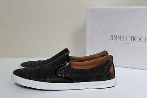 b7f1db6472cd sz 9 / 39.5 Jimmy Choo DEMI Black Glitter Slip On Trainers Flat ...