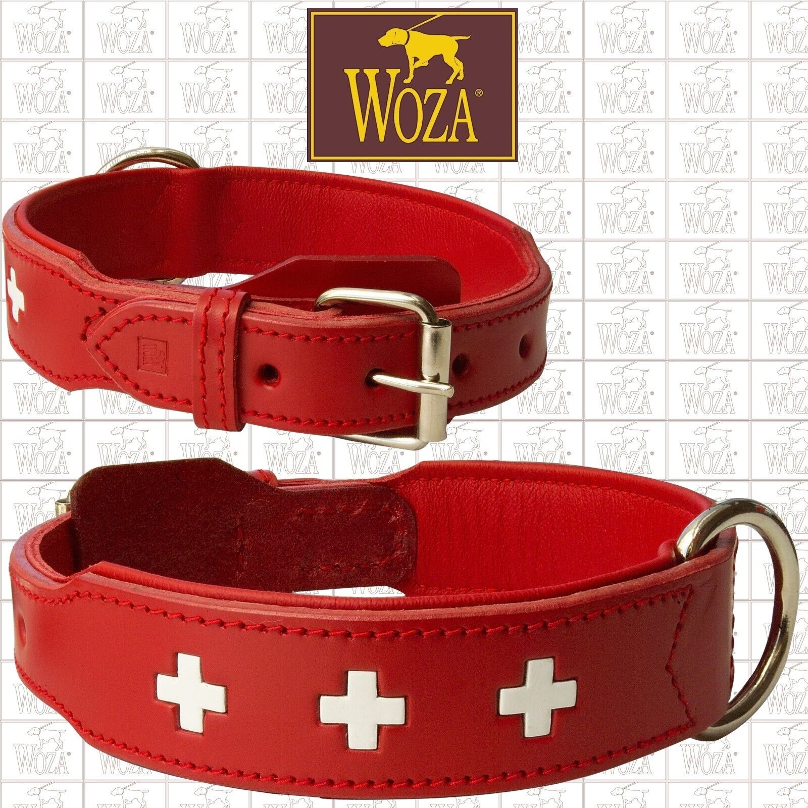 PREMIUM DOG COLLAR WOZA FULL LEATHER SWISS GENUINE COW NAPA PADDED HANDMADE E708