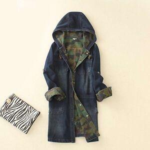 Women Denim Jean Long Loose Casual Hooded Jacket Trench Coat Outwear Windbreaker
