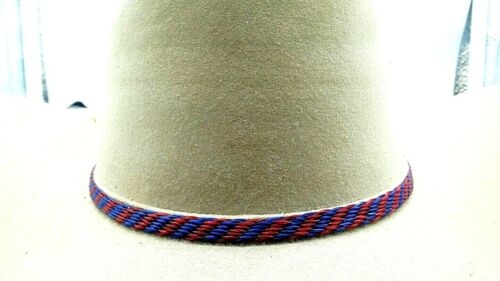 HATBAND RED and BLUE #1 Woven HORSEHAIR with TASSELS Cowboy Western Hat Band