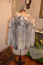black white cross corded mink fur hooded coat jacket s/m