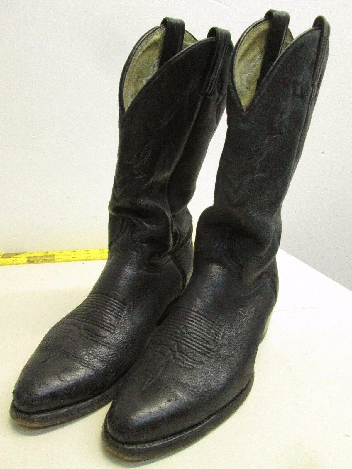 Para hombres De colección sin marca negro cuero ELK ocultar botas De Vaquero D usado en excelente estado