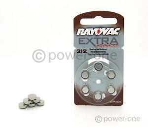 30 x Hörgerätebatterien Typ 312 Rayovac Extra Advanced 7,9 x 3,6mm