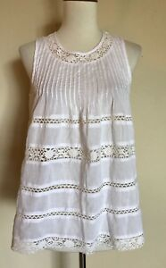 ff2059358be096 Image is loading Love-Sam-Sleeveless-Lace-Blouse-White-Size-XS