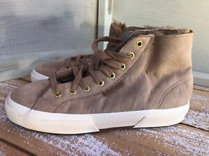 SUPERGA Beige High Top Shearling Lined