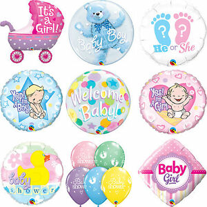 Qualatex-BABY-SHOWER-New-BABY-BOY-GIRL-Latex-amp-Foil-Party-Balloons-Welcome-1C