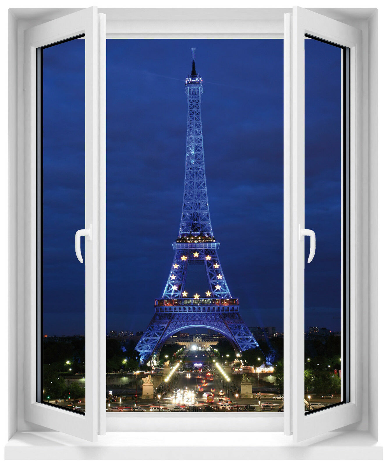 Adhesivo Ventana Torre Eiffel por la Noche 80x100cm Ref F509