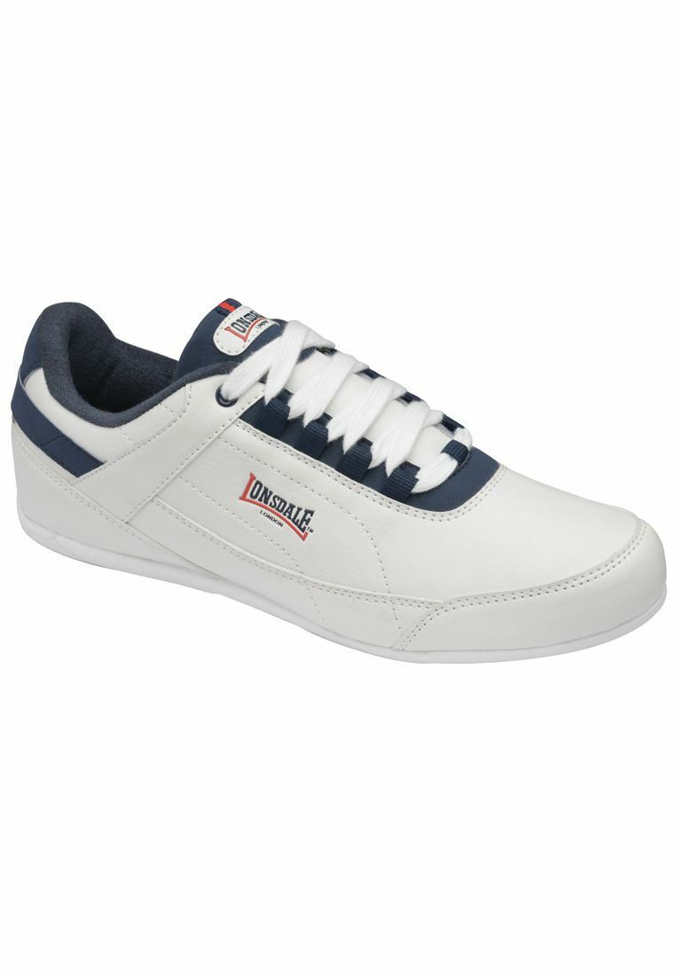 LONSDALE MEN'S LACE UP RUNNING  WALKING TRAINSERS IN WHITE NAVY & RED
