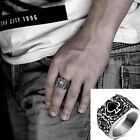 316L Stainless steel steam men punk ring Black heart cool Men's Jewelry