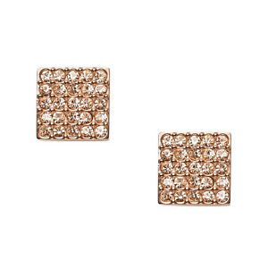 Details About New Fossil Rose Gold Tone S Steel Crystal Pave Stud Square Earrings Jf01831791