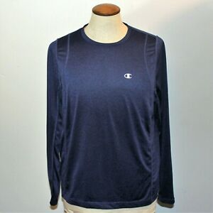 Champion-Mens-Size-Small-Athletic-Top-Shirt-Navy-Blue-Long-Sleeve-Crew-Neck