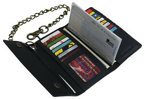 Black-Vintage-Leather-RFID-Blocking-Men-039-s-Biker-Long-Trifold-Chain-Wallet
