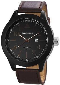 XXL-Herrenuhr-Schwarz-Braun-Analog-Leder-Datum-Armbanduhr-Quarz-D-60412119295795