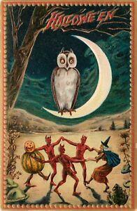 Quarter-Moon-With-Owl-Raphael-Tuck-Halloween-Window-Decals-Door-Decals-Prints