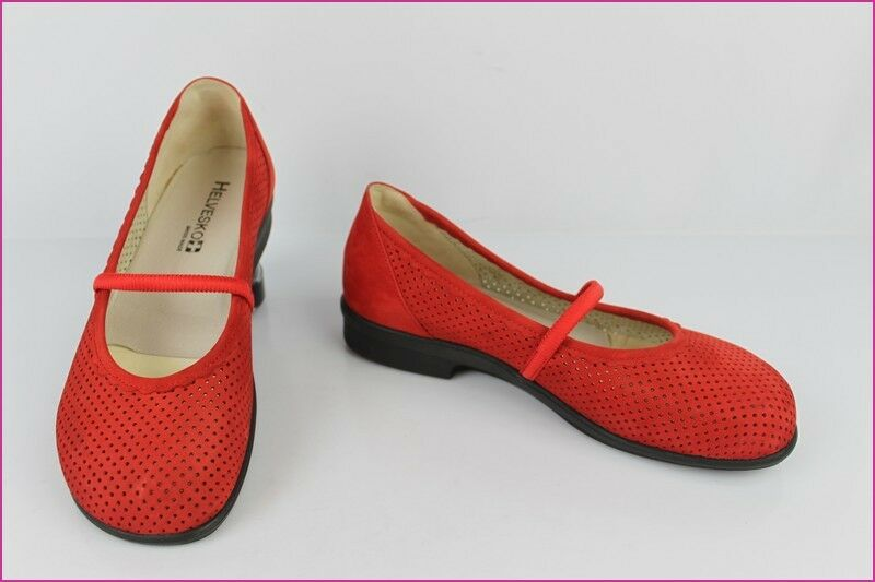 Ballet flat HELVESKO Swiss Made Leather Nubuck Red T 38 TOP CONDITION