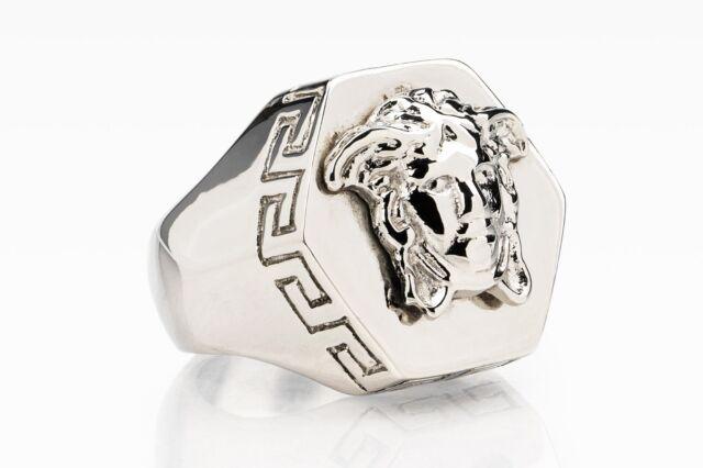 e0ccc14ab Versace Ring Hexagon Medusa head Silver color Mens jewelry Hip hop Size 8  (18)