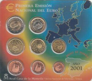 Volontaire Serie Euro Zecca Fdc Unc Completa Spagna Anno 2001 Euro Set Coins Spain 8 Pezzi