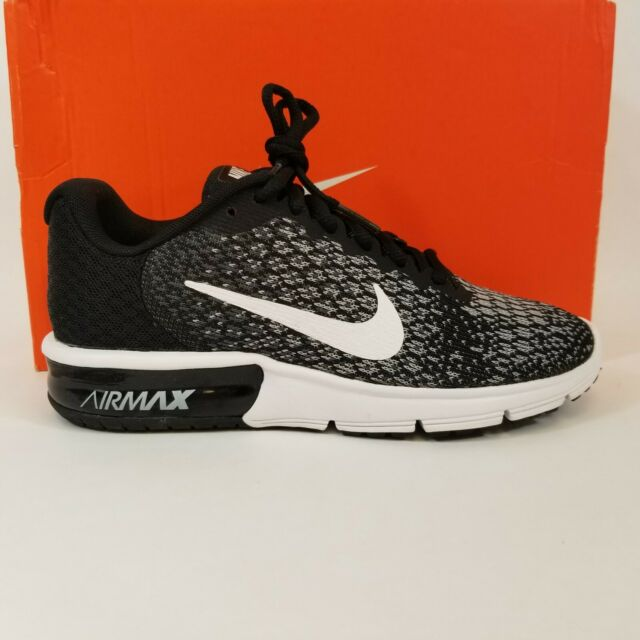 Nike Air Max Sequent 2 Womens 852465 002 Black Grey Knit Running Shoes Size 5.5