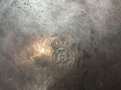 "Hallmark Crowned Rose 9/"" Diameter Pewter Plate Rare Antique 18th C"
