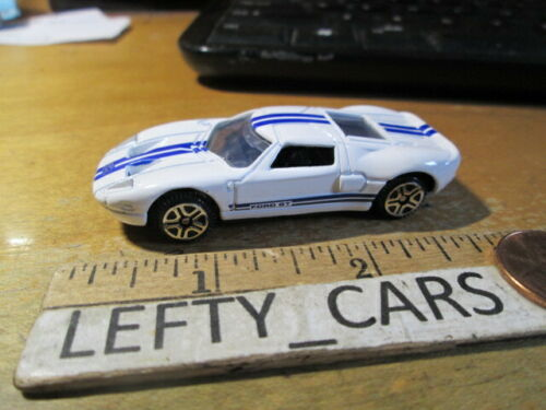 2005 FORD GT White HardTop CAR w/Blue racing stripes SCALE 1/64 - LOOSE! NO BOX!