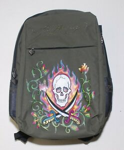 ED HARDY SCHOOL LAPTOP BACKPACK MENS in OLIVE SWORDS CASUAL TRAVEL ... 8e31fccaf3
