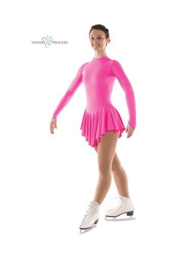 FLOURESCENT PINK NYLON LYCRA TURTLE NECK ICE//ROLLER SKATING DRESS FREE SCRUNCHIE