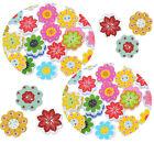 50PCS Colorido Botones De Madera Flor Agujeros Costura Manualidades Buttons