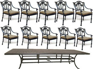 11-piece-aluminum-outdoor-dining-set-table-120-034-with-10-Palm-tree-dining-chairs
