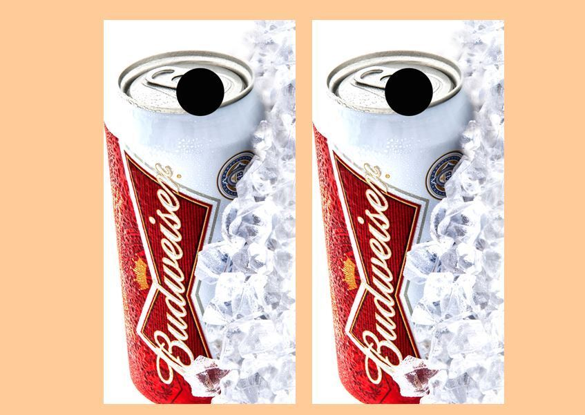 Ice Cold Budweiser Beer Cornhole Board Wraps FREE SQUEEGEE