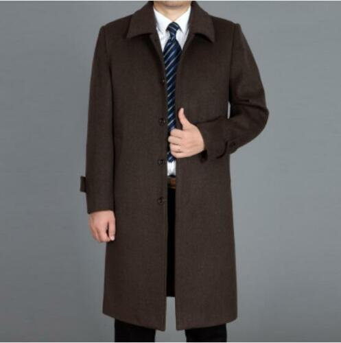 Homme Trench long manteau de laine Parka hiver chaud Business Casual Pardessus Veste Sz
