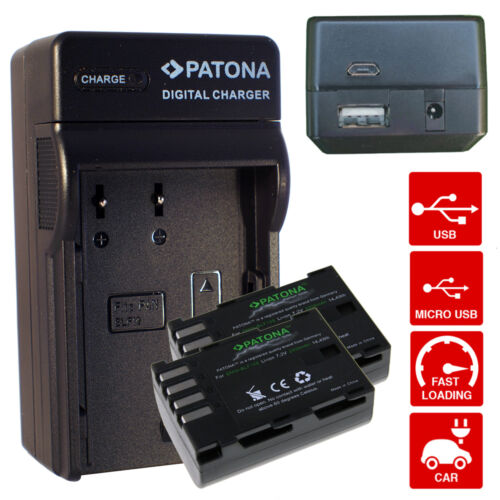 caricabatteria Lumix DMC-GH3 DMC-GH3A 2000mah X2 Batterie DMW-BLF19E premium